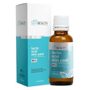 1 oz Lactic Acid Skin Peel - 90% Alpha Hydroxy Acid- Scars- Acne Spots- Dry Skin