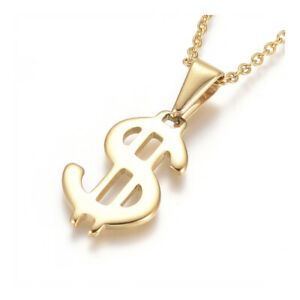 """Stainless Steel Pendant Necklace Chain Lobster Dollar Sign Gold 17.5"""" 1.5mm A234"""