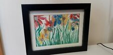 LOVELY ITEM..WATERCOLOUR...FLOWERS...PICTURE...BLACK FRAME..WALL HANG...DISPLAY
