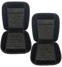 Universal Natural Wooden Black Beaded Massage Car Seat Cushion- Set of 2