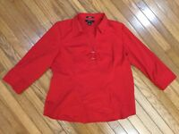 "Style & Co Women's Red Stretch 3/4"" Sleeve Blouse Top V Neck Size 16"