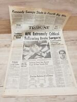 "Newspaper ""RFK EXTREMELY CRITICAL"" San Gabriel Daily Tribune 6/5/1968 Kennedy"