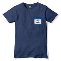 Vintage Print Pocket ISRAEL Flag Tshirt Football Peace War Nation T Shirt 311