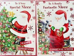NIECE CHRISTMAS CARD  ~ CHOICE OF 2 SANTA DESIGNS ~ QUALITY CARD NICE VERSE