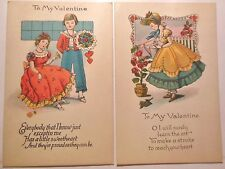 2 Antique Vintage Valentine Postcards - Children Young Girl Watering Can Roses