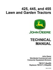 John Deere 425 445 455 lawn garden tractor TM1517 technical service manual on CD