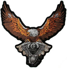 Bordado MARRÓN Eagle SOBRE MOTOR Motero grande parche en parte de atrás