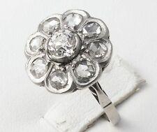 French Antique Platinum 18K Gold Diamond Flower Ring 1.30 CT