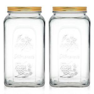Kitchen Glass Preservation Storage Food Jar With Airtight Screw Top Metal Lid