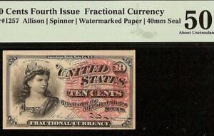10 CENT FRACTIONAL CURRENCY NOTE 1869-1875 PAPER MONEY Fr 1257 PMG 50