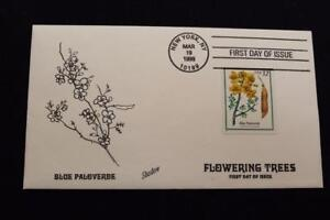 HAND PAINTED COVER 1998 1ST DAY ISSUE FLOWERING TREES BLUE PALOVERDE (1273)