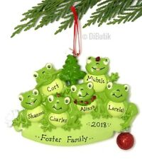 NAME PERSONALIZED 2018 New Green FROG FAMILY of 6 - Christmas Tree Ornament GIFT
