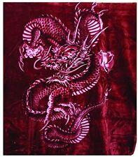 Solaron Korean Blanket Thick Mink Plush king size throw Dragon Snake Red
