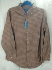 New Van Heusen Dress Casual Shirt Long Sleeve X-Large 17-17.5 Brown New with Tag