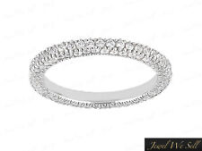 1.35Ct Diamond Eternity Wedding Band Ring w/ Accents 10k White Gold I SI2 Prong