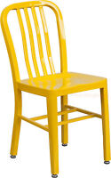 Mid-Century Yellow 'Navy' Style Dining Chair Cafe Patio Restaurant In-Outdoor