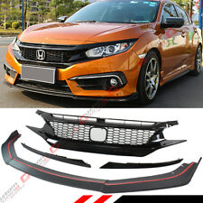 FOR 2016-18 HONDA CIVIC CTR STYLE FRONT BUMPER LIP SPOILER + HONEYCOMB BLK GRILL