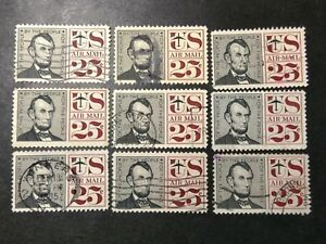 US # C59 Lot of 9; Used; NH ;  See Desc; Fine Ctr;   CV  $2.25