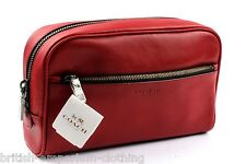 Coach Red Leather Travel da viaggio/Make Up Custodia Borsa nuova con etichetta