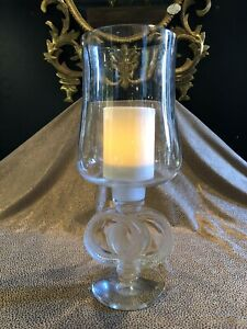 """Vintage Lalique STYLE 14.5"""" Clear Crystal Glass Candle Hurricane"""