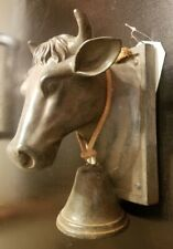 Vintage Cast Iron Wall MetalHanging Bull Dinner Bell & Hat Rack Heavy Farm House