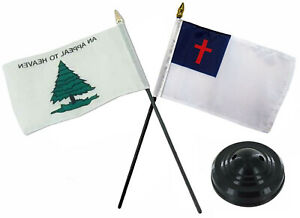 "Christian Christ & Appeal To Heaven  Flags 4""x6"" Desk Set Table Black Base"