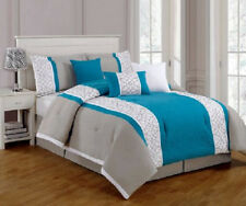 7 Piece Embroidered Comforter Set- Turquoise, White, Grey- King- Brand New