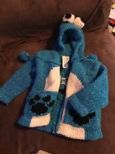 Tejidos Boy Toddler Size 2 Hooded Zip-Front Sweater Cookie Monster Type