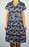 New Joe Browns Shirt Dress Floral Blue Navy Summer Button Down Plus Size 18 AD