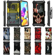 For Samsung Galaxy A21 Full Body Armor Rugged Holster Belt Clip Case