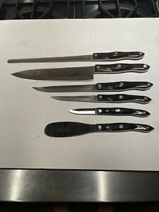 Very Nice Group Of Six Cutco Dark Handle Kitchen Chef Knife Excellent Gift