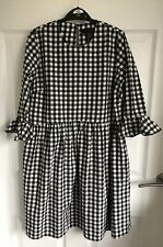 Ladies Black/White Checked Atmosphere Dress/Long Tunic Top Frill Detail - Size 8
