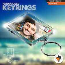 Personalised Photo Keyring With Custom Text & Photo- Gifts Father's Day Xmas* l