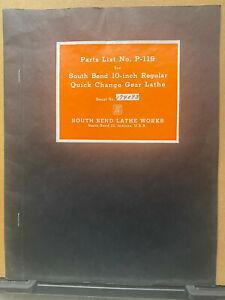 """Vtg Original South Bend Parts List Catalog Manual for 10"""" Lathes 1944 P-119"""