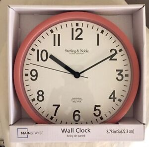 MAINSTAYS Sterling & Noble Wall Clock - Terra Cotta  8.78 inches (BRAND NEW)