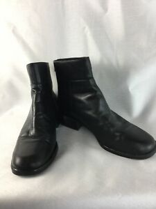 Croft & Barrow BO SZ 7 1/2 M Black Leather Block Heel Zipper Women's Ankle Boots
