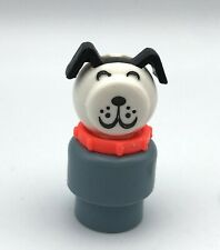 Fisher Price Little People Vintage GREY LUCKY RED COLLAR Rare!