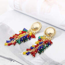 Retro Women Tassel Multicolor Gold Drop Dangle Stud Long Earring Vintage