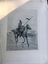Rare Edouard Detaille (France, 1848 - 1912) Military Etching on Onion Skin