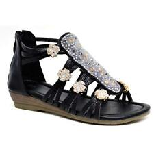 New Girls Fancy Wedge Spanish Sandals Summer Gladiator Beach Party Shoes Size