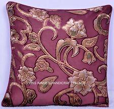 "16"" Indian White Floral Print Velvet Cushion Throw Handmade Hippie Pillow Cover"