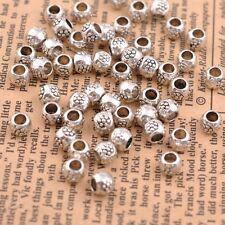 50/100Pcs Antique Tibetan Silver Round Charm Spacer Beads for Bracelet JK3035