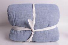 New Pottery Barn Belgian Flax linen reversible stripe FQ full quilt denin blue