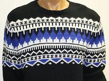 Polo Ralph Lauren Sweater Black White Blue Cashmere Angora Rabbit Hair Blend New