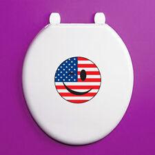 WINKING Smiley Face Stati Uniti Bandiera CERCHIO-Sedile WC Adesivo Vinile