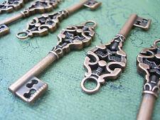 """Skeleton Keys Bulk Vintage Old Steampunk Style 2"""" 5 pcs Antiqued Copper Wedding"""