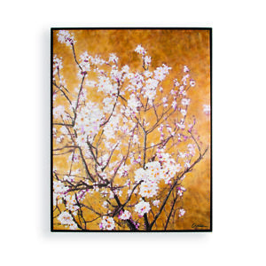 Art for the Home Oriental Blossom Hand Painted Framed Canvas Wall Art (Was £100)