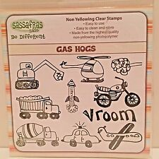 Sassafras Lass Be Different GAS HOGS Stamp Set Trucks Tractor Rocket Motorcycle