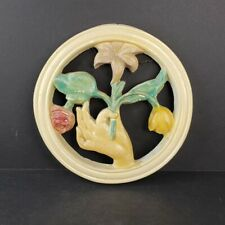 Vintage Chalkware Wall Hanging Art Nouveau Hand Holding Bouquet of Flowers c1940