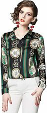 BEST-F-U Women's Retro Floral Print Blouse Button Down Shirt Casual Top